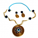 Necklace and Earring Set - Blue Eye (Nazar)Stone(CDP)
