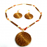 Necklace and Earrings Set - Mandala-Red Stone (RI)