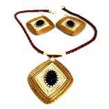 Necklace and Earring Set - Rec Black Stones (CDP)