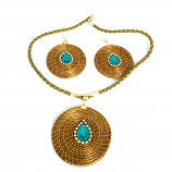 Necklace and Earring Set - Blue and white Stones (CDP)